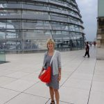Brenda at the dome at The Reichstag building, which looks down on the German Parliament.