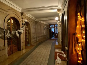 Entryway to our building, decorated for Halloween