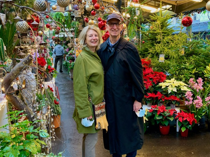 Hugh and Brenda at the flower market on Ile de la Cité