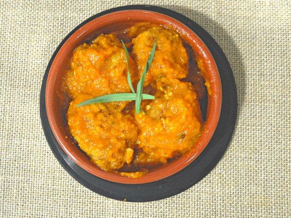 Albóndigas en salsa de calabaza picante