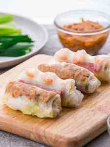 Healthy Shrimp and Spicy Tuna Vietnamese Spring Rolls! Clean and fresh appetizers served with sesame mayo and peanut sauce.