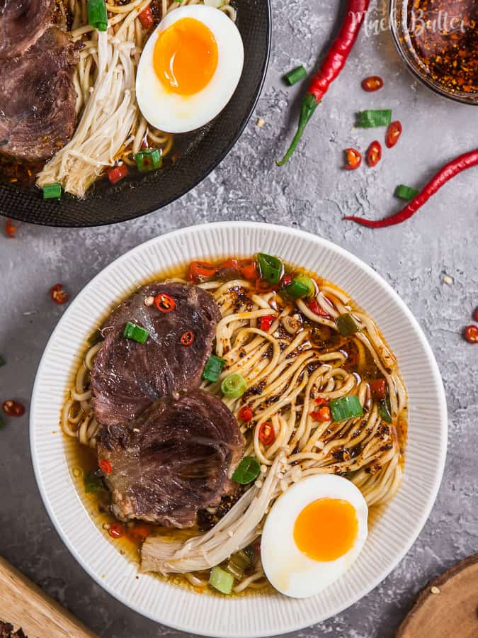 spicy beef chashu ramen noodles with pressure cooker