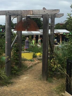 Entrance t the community gardens