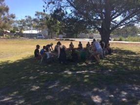Jono taking a class on animal ethics outside