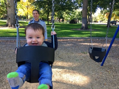 happy baby at the park
