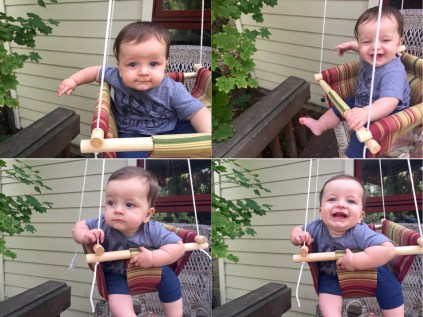 happy baby on the diy swing