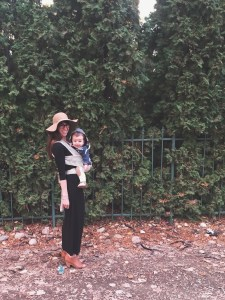 H wearing his cozy hood from Rad Revolution while mama wears him in the solly baby wrap!