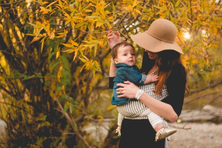 Baby wearing fall photoshoot in Idaho wearing a Solly Baby Wrap