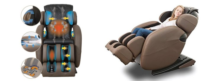 Full-Body Zero Gravity Space Saving L-Track Kahuna Massage Chair Recliner