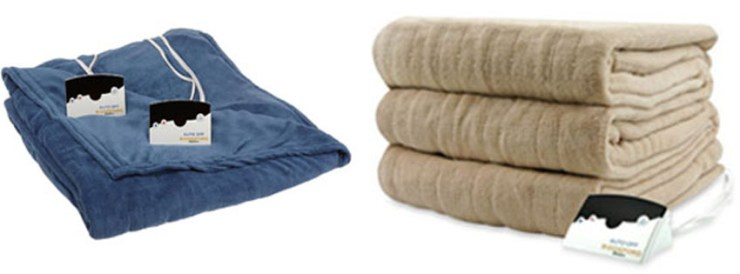 Biddeford Poly Knit Queen Linen MicroPlush Heated Blanket