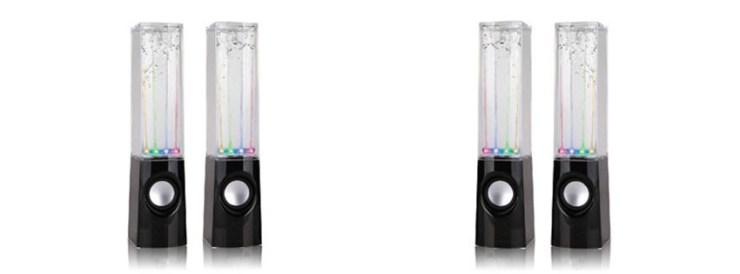 Black Dancing Water Fountain Light Sound Speaker