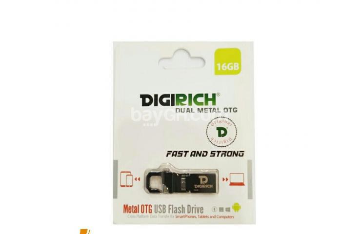 Flash Disk wakoresha kuri Machine zijya no kuri telephone ya Android, DIGIRICH Dual Metal OTG, 16GB, igurishwa 13,000Frw