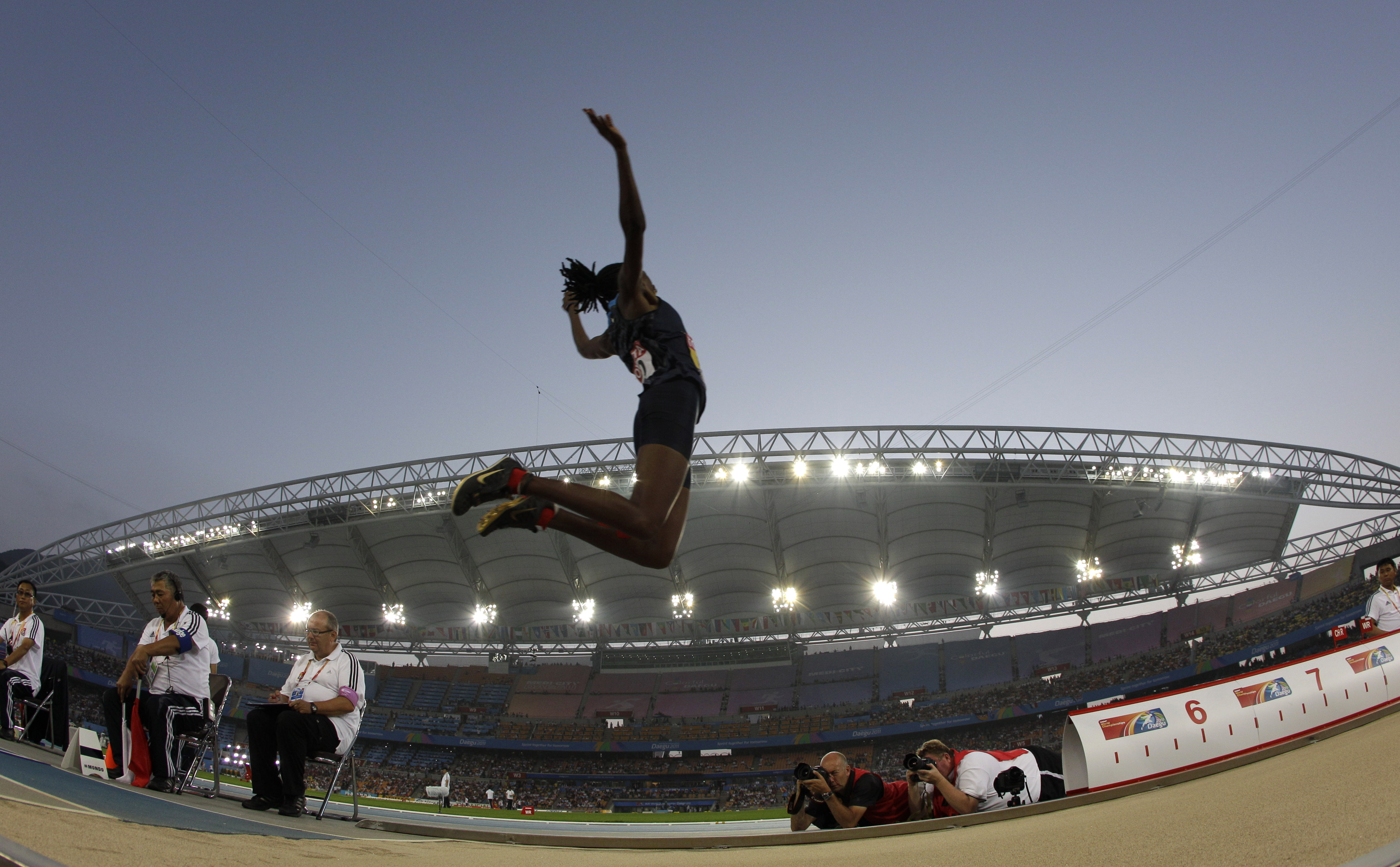 USA's Brittney Reese competes in the final of the Women's Long Jump at the World Athletics Championships in Daegu, South Korea, Sunday, Aug. 28, 2011.(AP Photo/David J. Phillip)