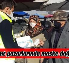 Semt pazarlarında maske dağıtıldı