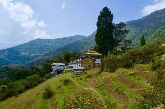 View of Namshu Monastery from a distance, Tawang, Muddie Trails