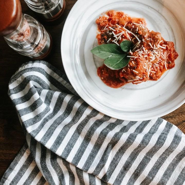 Almond Meal Meatballs & Homemade Tomato Sauce