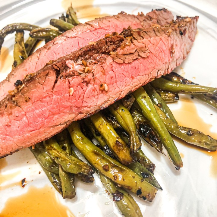 Szechuan Marinated Flank Steak with Spicy Green Beans