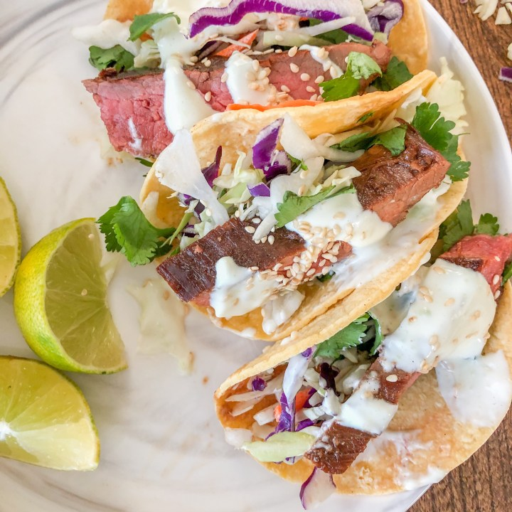 Asian Flank Steak Tacos with Wasabi Aioli and Cilantro Slaw