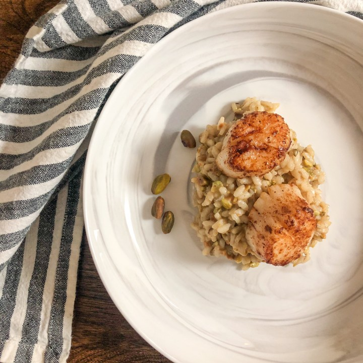 Pistachio & Parmesan Risotto with Brown Butter Scallops