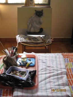 Sat on the bed to paint...
