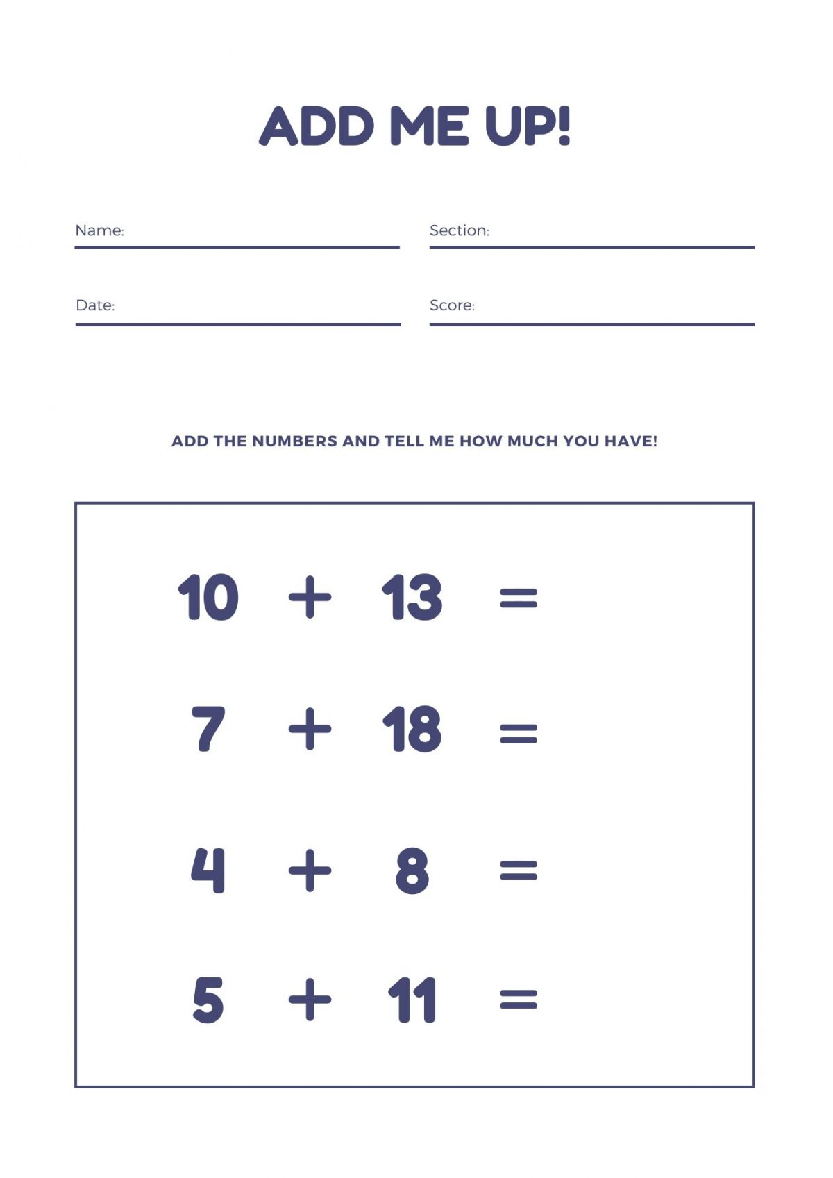 First Grade Math Worksheets Archives