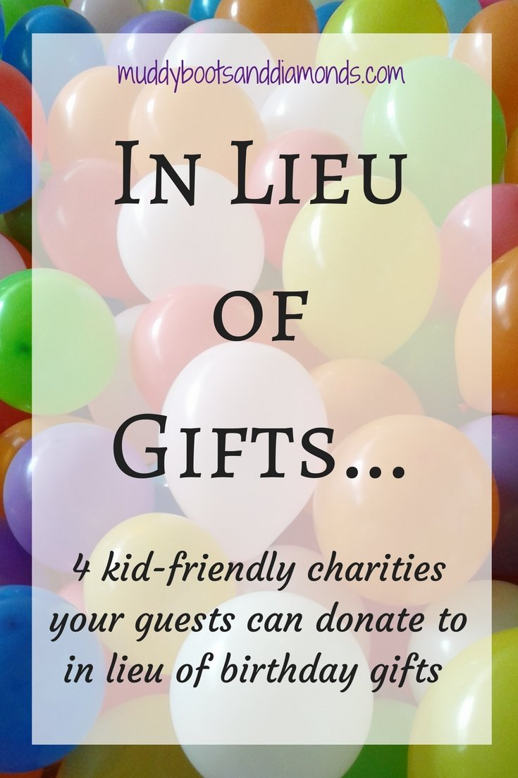 Kid-Friendly Charities guests can donate to in lieu of gifts via muddybootsanddiamonds.com