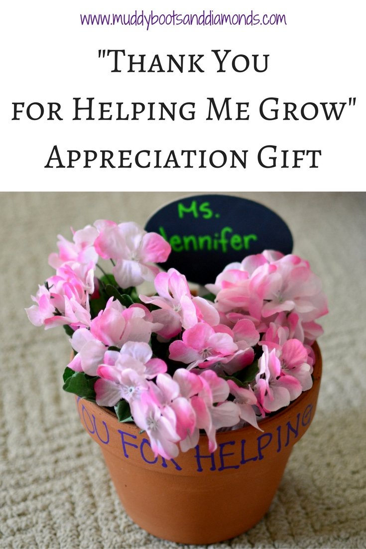 Thank You for Helping Me Grow flower pot appreciation gift via www.muddybootsanddiamonds.com