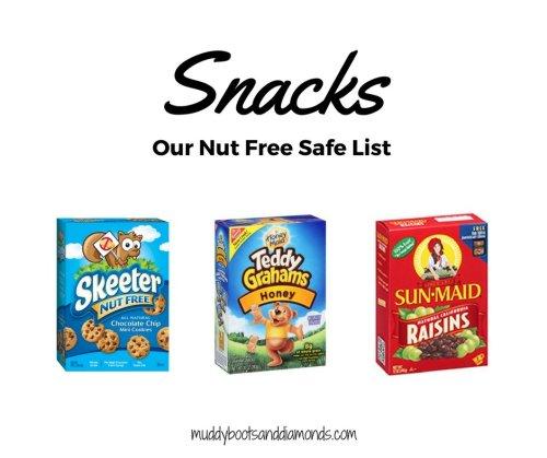 Nut Free Foods Safe LIst: One mom's list of nut-free foods via muddybootsanddiamonds.com