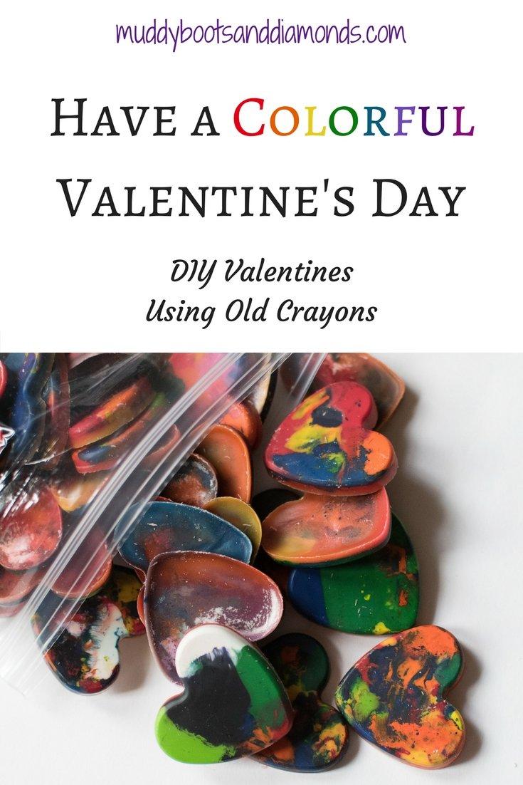 Have a Colorful Valentine's Day: DIY Valentines using old crayons via muddybootsanddiamonds.com