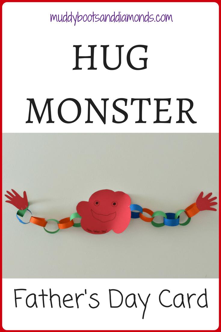Hug Monster paper craft for children | Hug Monster Father's Day card craft via muddybootsanddiamonds.com