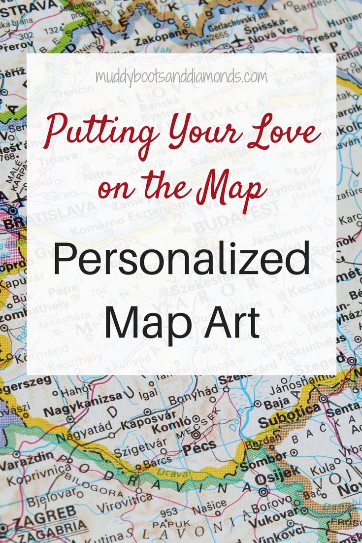 Personalized Map Art: Wedding Gift Guide | Putting Your Love on the Map: Personalized Wedding Gifts via muddybootsanddiamonds.com