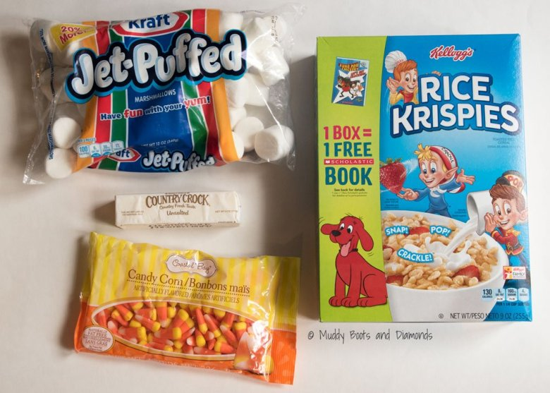 Ingredients to make candy corn rice krispie treats