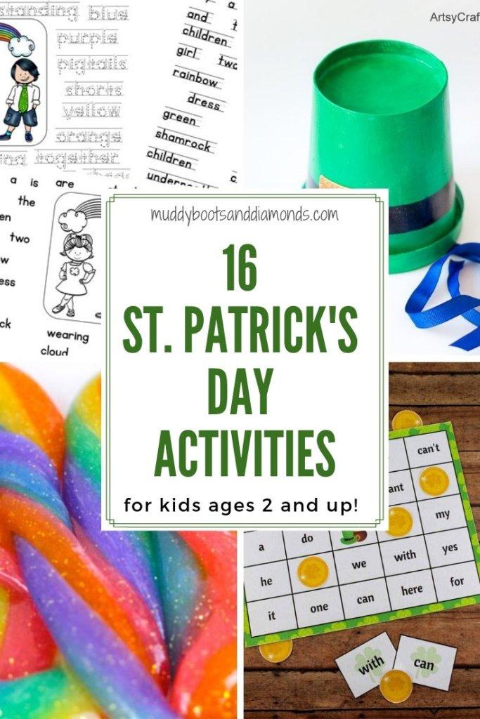 St. Patrick's Day Activities for Kids over 2 years old! via muddybootsanddiamonds.com #StPatricksDay #MuddyBootsAndDiamonds #CraftsForKids #ActivitiesForKids #STEAM #StPatricksDaySlime