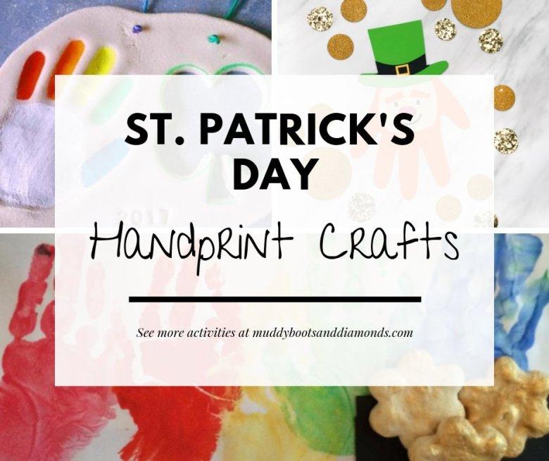 St. Patrick's Day handprint crafts and other activities for kids via muddybootsanddiamonds.com