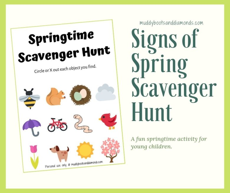 signs of spring scavenger hunt via muddybootsanddiamonds.com