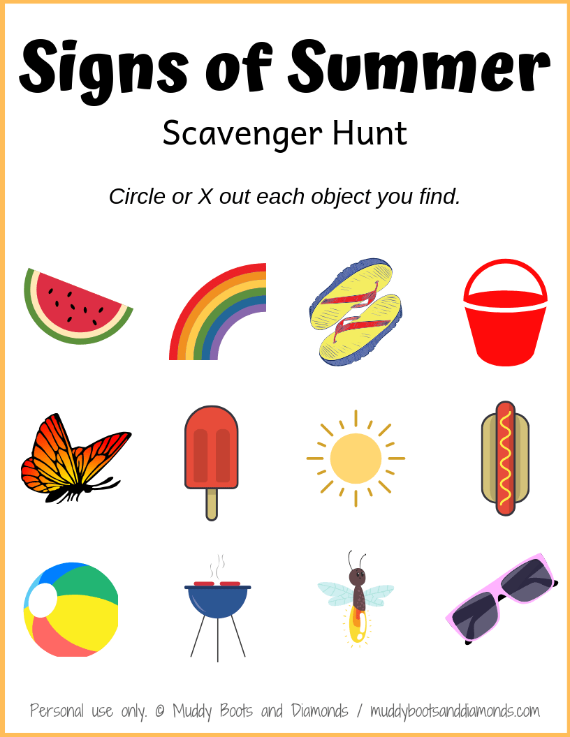 picture regarding Family Reunion Scavenger Hunt Printable called Summer months Scavenger Hunt Printable Muddy Boots and Diamonds