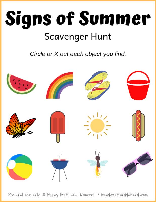 Signs of Summer Scavenger Hunt for Kids - free printable via muddybootsanddiamonds.com
