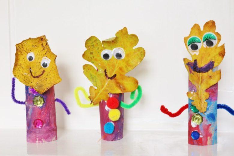 tolilet paper roll craft leaf faces | Fall Leaf Crafts for Kids via muddybootsanddiamonds.com