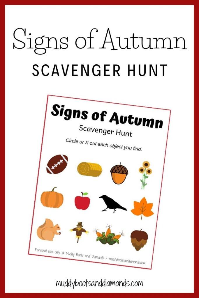 Signs of Autumn Scavenger Hunt for Kids via muddybootsanddiamonds.com
