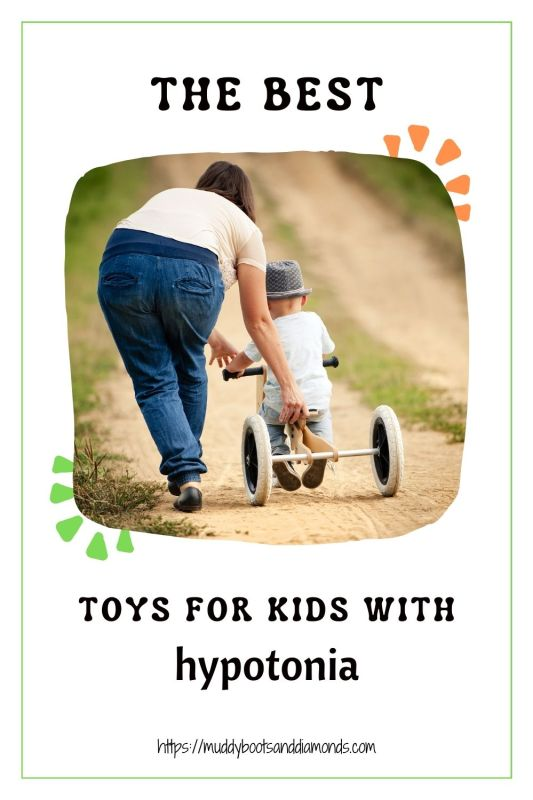 Pinterest Image of Mom Helping a toddler on a tricycle with text overlay: The Best Toys for Kids With Hypotonia via MuddyBootsAndDiamonds.Com
