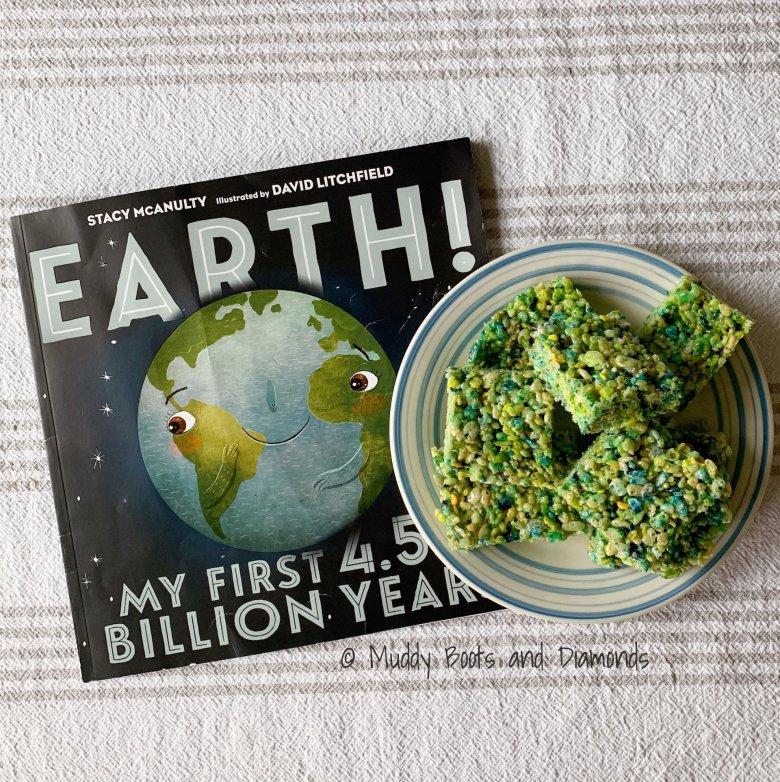 Earth Day Rice Krispy Treats with Earth My First 4.5 Billion Years Book via muddybootsanddiamonds.com