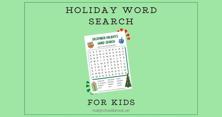 December Holidays Word Search for Kids social media image via muddy boots and diamonds blog