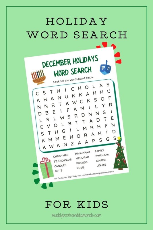 December Holidays Word Search for Kids Pinterest Image