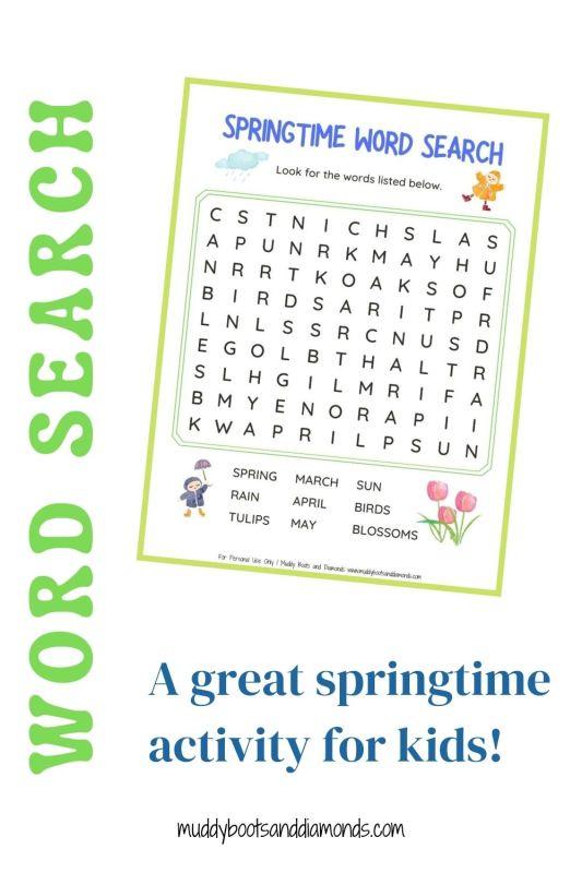 Springtime Word Search with text overlay pinterest graphic via muddybootsanddiamonds.com