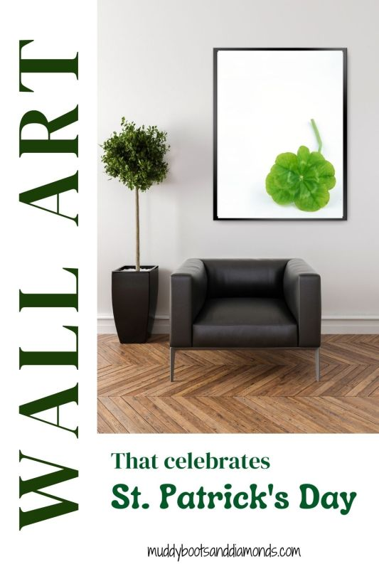 Wall Art That Celebrates St. Patrick's Day pinterest pin with text overlay black leather chair under photograph of green four leaf clover via muddybootsanddiamonds.com St. Patrick's Day Art Prints For Your Home or Office