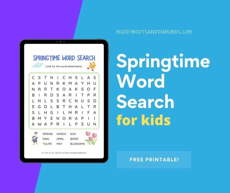 Image of Springtime Word Search graphic with text overlay via muddy boots and diamonds blog
