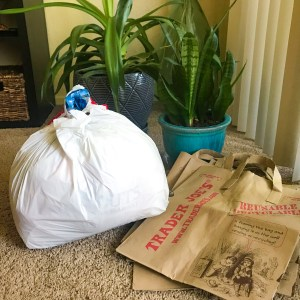 plastic and paper bags ready to recycle, sustainability during quarantine