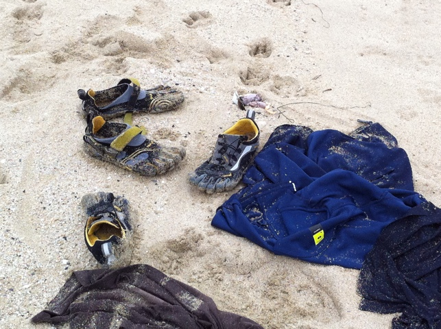 Shoes & Shirts Strewn on the Beach
