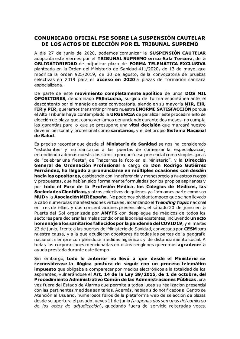 COMUNICADO OFICIAL FSENLUCHA SOBRE LA SUSPENSIÓN CAUTELAR DEL TS 1 - NOVEDADES