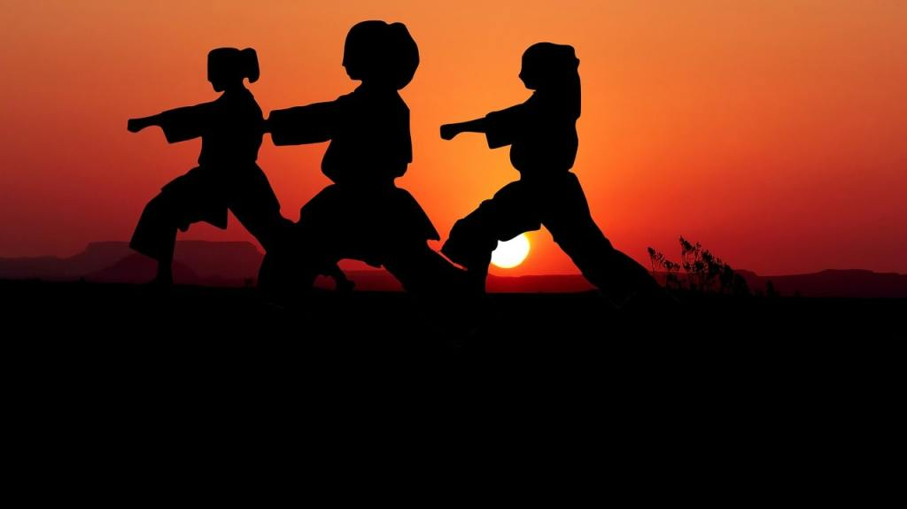 Women Performing Martial Arts Kata with Sunset